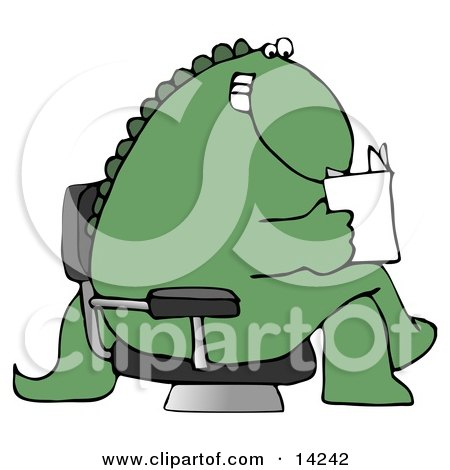 Grinning Green Dinosaur Sitting Cross Legged in a Chair in a Lobby and Reading a Book or Brochure Clipart Illustration by djart
