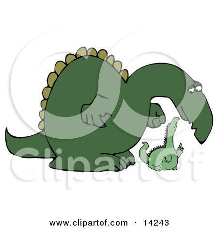 Big Green Dinosaur Bending Down to Listen to a Small Dino Clipart Illustration by djart