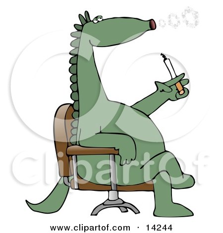 Green Dinosaur Sitting In A Chair And Blowing Out Circular Puffs Of Smoke While Smoking A Cigarette Posters, Art Prints