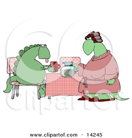 Female Wife Dinosaur in a Pink Robe, Curlers and Slippers, Serving Coffee to Her Exhausted Husband Who is Sitting at a Table in the Morning Clipart Illustration by djart