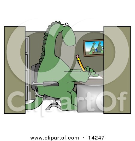 Green Dinosaur Sitting in a Chair at a Desk in an Employee Office Cubicle and Working Clipart Illustration by djart