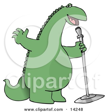 Green Comedian or Singing Dinosaur on Stage With a Microphone Clipart Illustration by djart