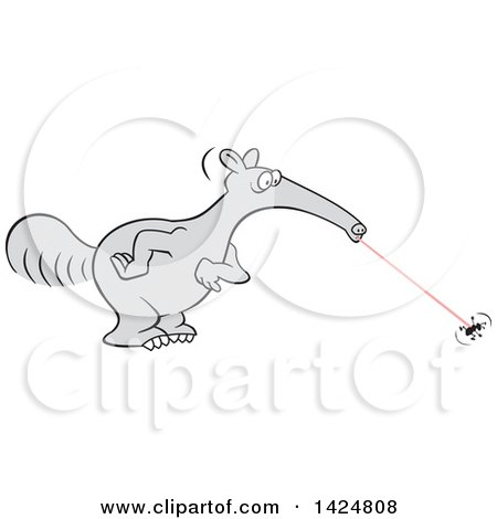Clipart of a Cartoon Anteater Zapping up an Ant - Royalty Free Vector Illustration by Johnny Sajem