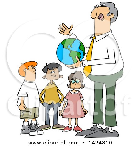 Clipart of a Cartoon Male Teacher Discussing Planet Earth and Holding a Globe with Students - Royalty Free Vector Illustration by djart