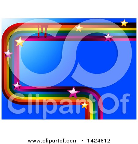 Clipart of a Painted Rainbow Curve with Drops and Stars over Blue - Royalty Free Vector Illustration by elaineitalia