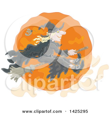 Clipart of a Witch Flying on a Broom Stick over an Orange Full Halloween Moon - Royalty Free Vector Illustration by Alex Bannykh
