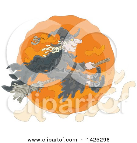 Clipart Of A Cartoon Halloween Witch Flying On A Broomstick Over An Orange Full Moon Royalty Free Vector Illustration