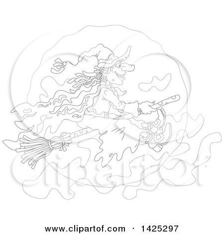 Clipart of a Cartoon Black and White Lineart Halloween Witch Flying on a Broomstick over a Full Moon - Royalty Free Vector Illustration by Alex Bannykh
