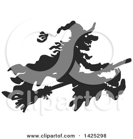 Clipart of a Black Silhouetted Halloween Witch Flying on a Broomstick - Royalty Free Vector Illustration by Alex Bannykh