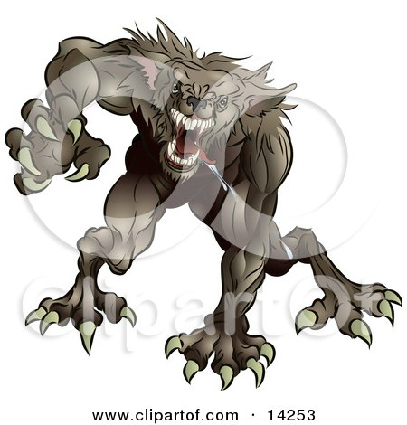 growling werewolf monster rushing forward to attack.