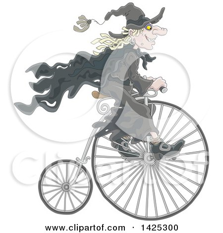Clipart of a Cartoon Halloween Witch Riding a Penny Farthing Bicycle - Royalty Free Vector Illustration by Alex Bannykh