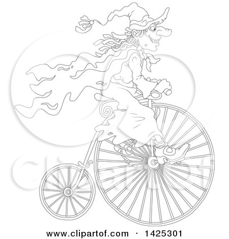 Clipart of a Cartoon Black and White Lineart Halloween Witch Riding a Penny Farthing Bicycle - Royalty Free Vector Illustration by Alex Bannykh
