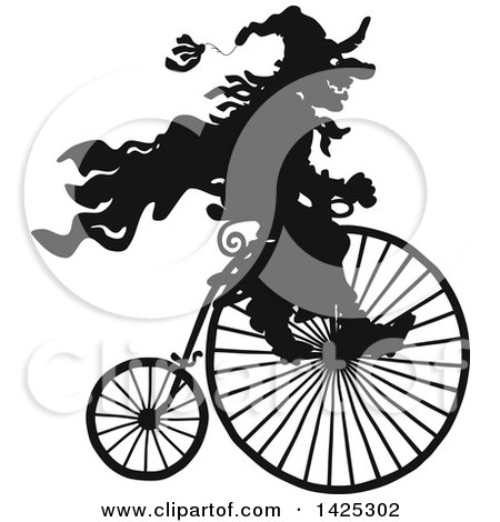 Clipart of a Black Silhouetted Halloween Witch Riding a Penny Farthing Bicycle - Royalty Free Vector Illustration by Alex Bannykh