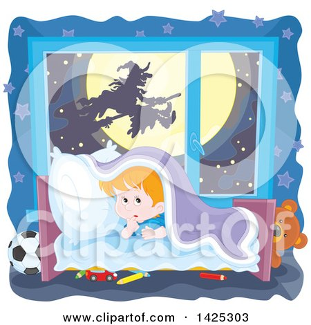 Clipart of a Halloween Witch Flying on a Broomstick Against Full Moon Through a Scared Boy's Window - Royalty Free Vector Illustration by Alex Bannykh