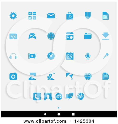 Clipart of a Set of Blue Android App Icons, over Gray - Royalty Free Vector Illustration by cidepix
