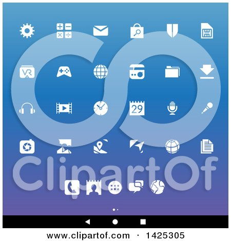 Clipart of a Set of White Android App Icons, over Gradient - Royalty Free Vector Illustration by cidepix
