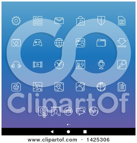 Clipart of a Set of White Lineart Android App Icons, over Gradient - Royalty Free Vector Illustration by cidepix
