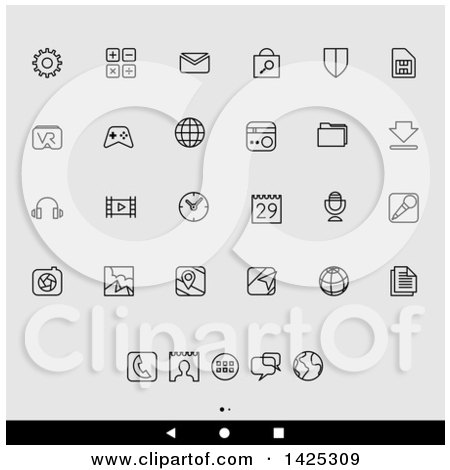 Clipart of a Set of Lineart Android App Icons, over Gray - Royalty Free Vector Illustration by cidepix