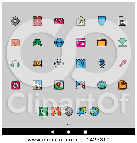 Clipart of a Set of Colorful Outlined Android App Icons, over Gray - Royalty Free Vector Illustration by cidepix
