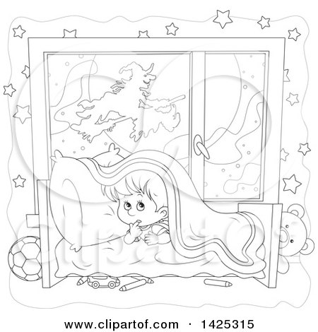 Clipart of a Cartoon Black and White Lineart Halloween Witch Flying on a Broom Stick Against Full Moon Through a Scared Boy's Window - Royalty Free Vector Illustration by Alex Bannykh