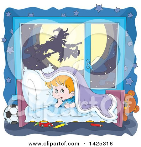 Clipart of a Cartoon Halloween Witch Flying on a Broom Stick Against Full Moon Through a Scared Boy's Window - Royalty Free Vector Illustration by Alex Bannykh