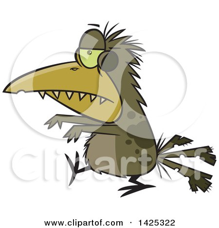Clipart Of A Cartoon Zombie Bird Walking Royalty Free Vector Illustration
