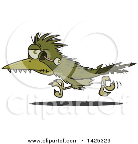 Clipart Of A Cartoon Zombie Roadrunner Bird With An Eyeball Hanging Out Royalty Free Vector Illustration