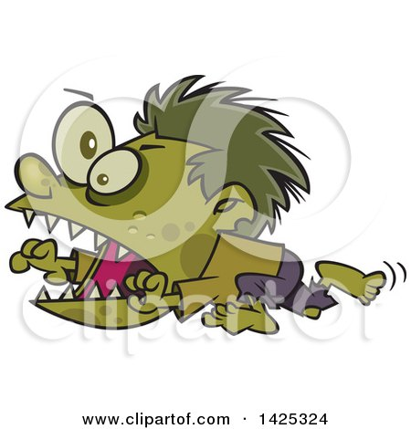 Clipart Of A Cartoon Zombie Hyper Boy Running Royalty Free Vector Illustration