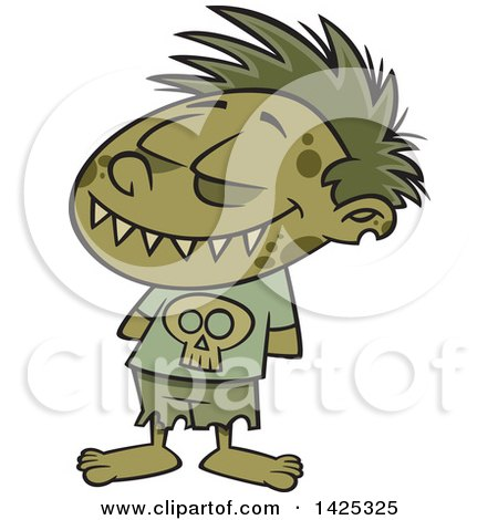Cartoon Zombie Boy Grinning with His Hands Behind His Back Posters, Art Prints