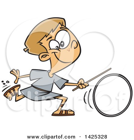 Clipart of a Cartoon Roman Boy Wheeling a Ring - Royalty Free Vector Illustration by toonaday