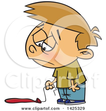 Clipart of a Cartoon Caucasian Boy Pouting over a Flat Balloon - Royalty Free Vector Illustration by toonaday