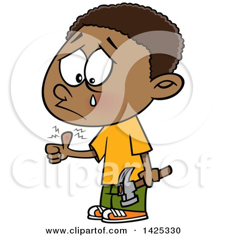 Clipart of a Cartoon African American Boy Crying After Banging His Thumb with a Hammer - Royalty Free Vector Illustration by toonaday