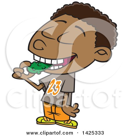 Clipart of a Cartoon African American Boy Eating a Pickle - Royalty Free Vector Illustration by toonaday