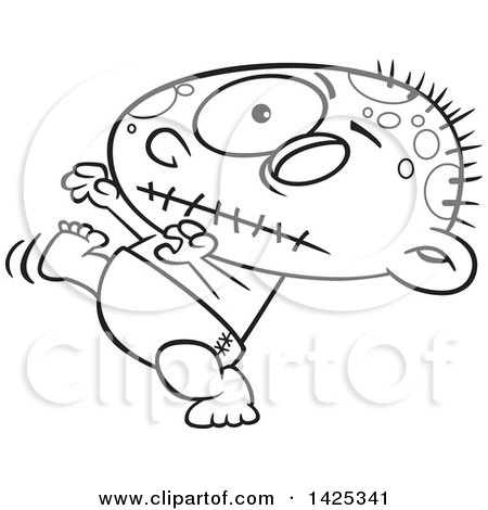 Clipart Of A Cartoon Black And White Lineart Zombie Baby Walking
