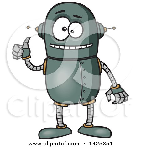 Clipart of a Cartoon Happy Robot Giving a Thumb up - Royalty Free Vector Illustration by toonaday