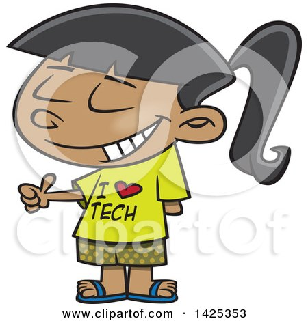 Clipart of a Cartoon Girl Wearing an I Love Tech Shirt and Giving a Thumb up - Royalty Free Vector Illustration by toonaday