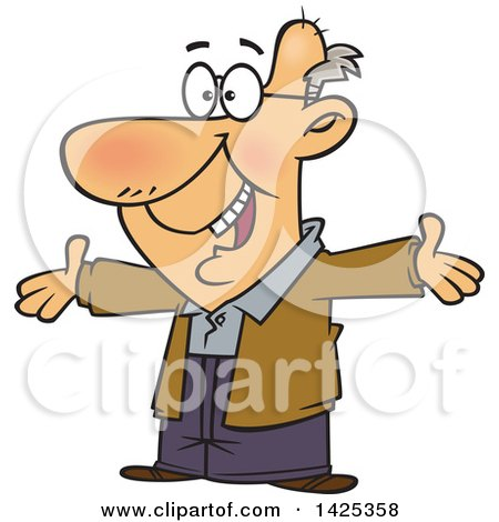 Clipart of a Cartoon Happy Caucasian Grandpa Wanting a Hug - Royalty Free Vector Illustration by toonaday