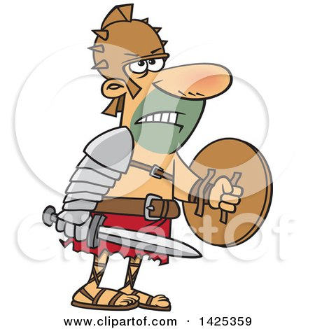 Clipart of a Cartoon Tough Gladiator Holding a Sword and Shield - Royalty Free Vector Illustration by toonaday