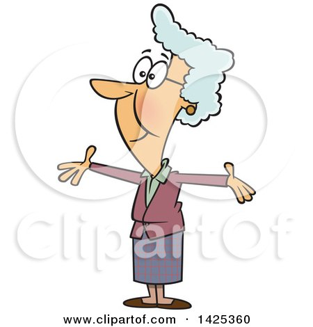 Clipart of a Cartoon Happy Caucasian Granny Wanting a Hug - Royalty Free Vector Illustration by toonaday