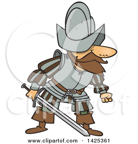 Clipart of a Cartoon Mad Conquistador Holding a Sword - Royalty Free Vector Illustration by toonaday