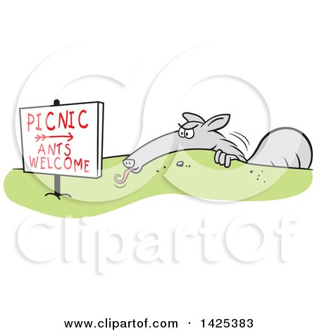 Clipart of a Cartoon Anteater Hiding Behind a Picnic Ants Welcome Sign - Royalty Free Vector Illustration by Johnny Sajem