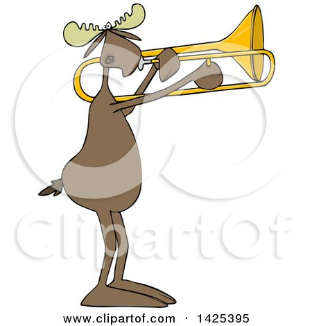 Clipart of a Cartoon Moose Playing a Trombone - Royalty Free Vector Illustration by djart