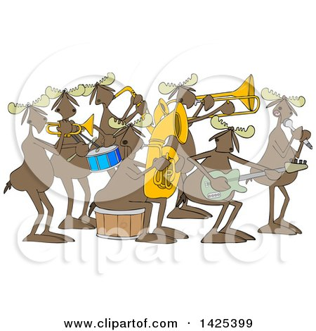 Clipart of a Cartoon Moose Band Playing Instruments and Singing - Royalty Free Vector Illustration by djart