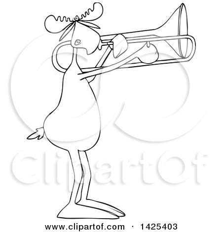 Clipart of a Cartoon Black and White Lineart Moose Playing a Trombone - Royalty Free Vector Illustration by djart