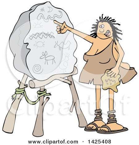 Clipart of a Cartoon Cave Woman Teacher Pointing to a Boulder with Drawings - Royalty Free Vector Illustration by djart