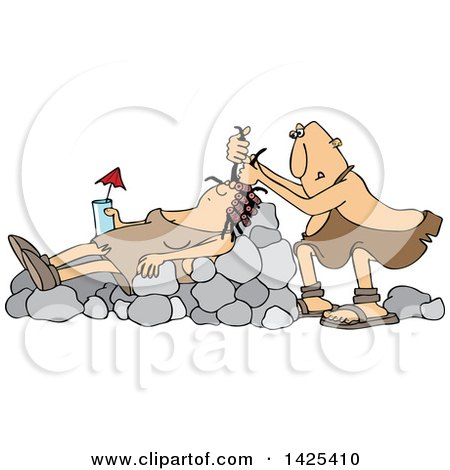Clipart of a Cartoon Cave Woman Holding a Drink, Laying on Boulders Nad Getting Her Hair Done - Royalty Free Vector Illustration by djart