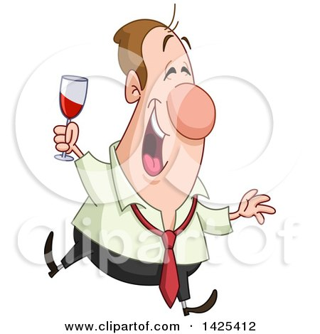 Clipart of a Cartoon Happy Drunk Caucasian Business Man Holding a Wine Glass at a Party - Royalty Free Vector Illustration by yayayoyo
