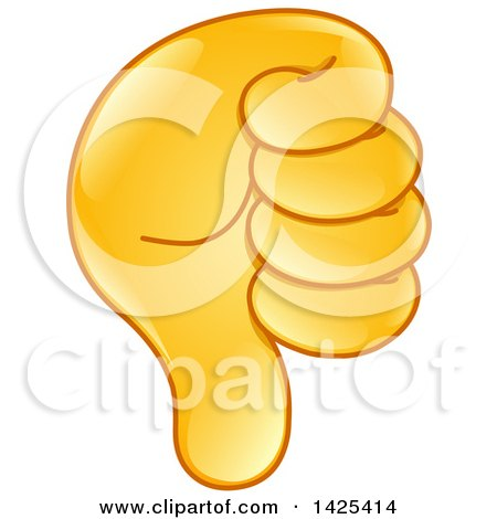 Clipart of a Thumb down Emoji Hand - Royalty Free Vector Illustration by yayayoyo