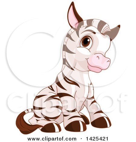Clipart of a Cute Adorable Baby Zebra Sitting - Royalty Free Vector Illustration by Pushkin