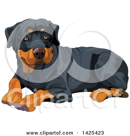 Clipart of a Cute Rottweiler Dog Resting - Royalty Free Vector Illustration by Pushkin